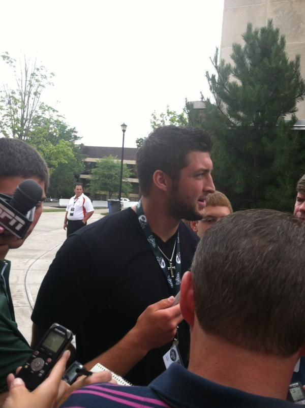"Chris Nimbley ""Tebow talking, says he feels like its his first day of college"" (July 26, 2012)"