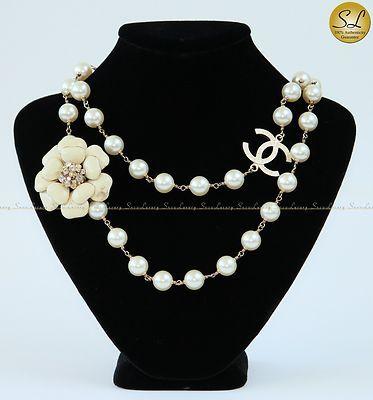 Chanel Pearl Crystal Embellished Camellia Flower Pendant