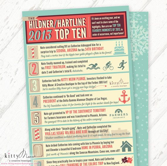 Year In Review Funny Top Ten Infographic By Kittymeowboutique