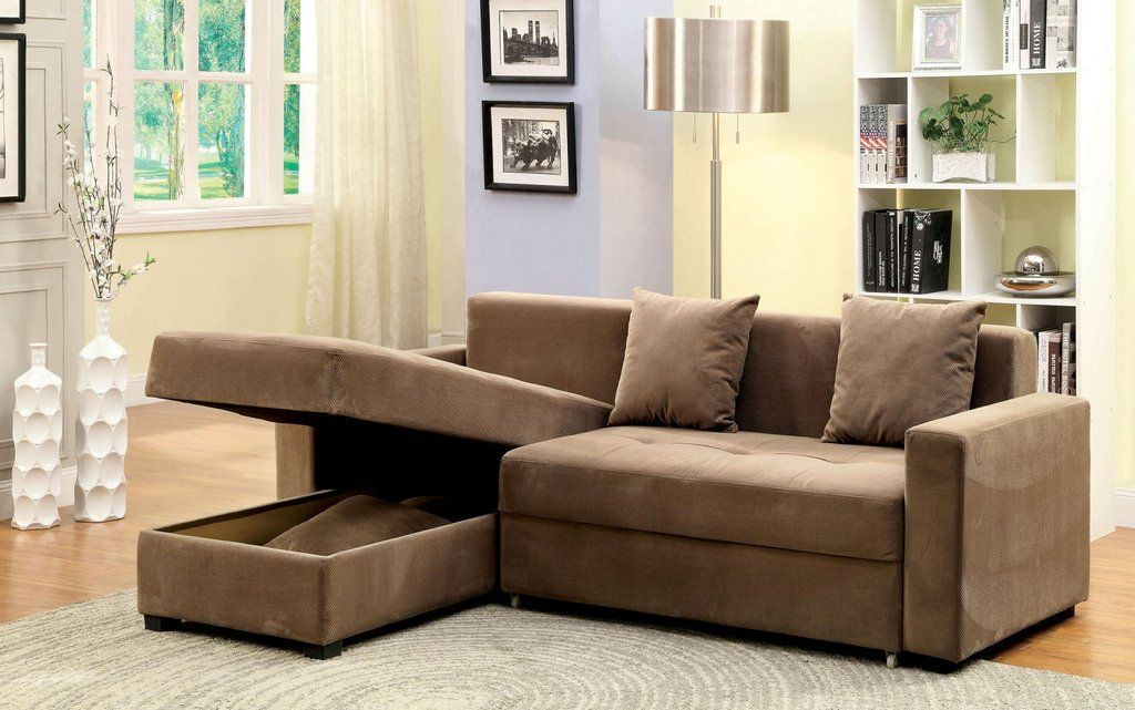 Sofa Sectional With Storage And Pull Out Chaise Turns Into Bed
