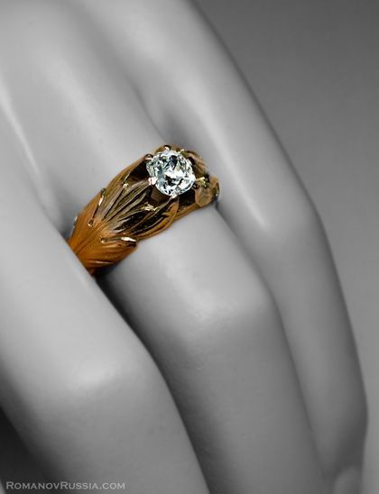 A Fine Antique Russian Gold and Diamond Mens Ring made in Odessa