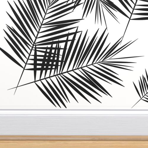 Palm Leaf Black And White Monochrome Black And White Wallpaper Black And White Leaves Palm Trees Wallpaper