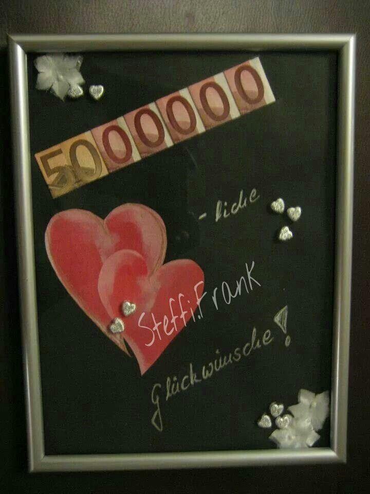 Geldgeschenk zur Hochzeit Bilderrahmen mit 5.000.000 herzlichen ...