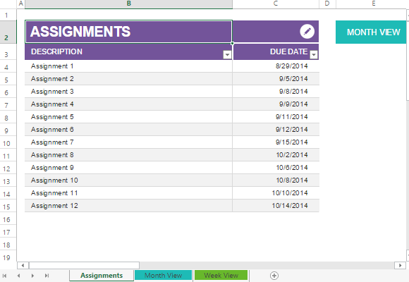 This Assignment Planner Excel Template helps you juggle all your ...