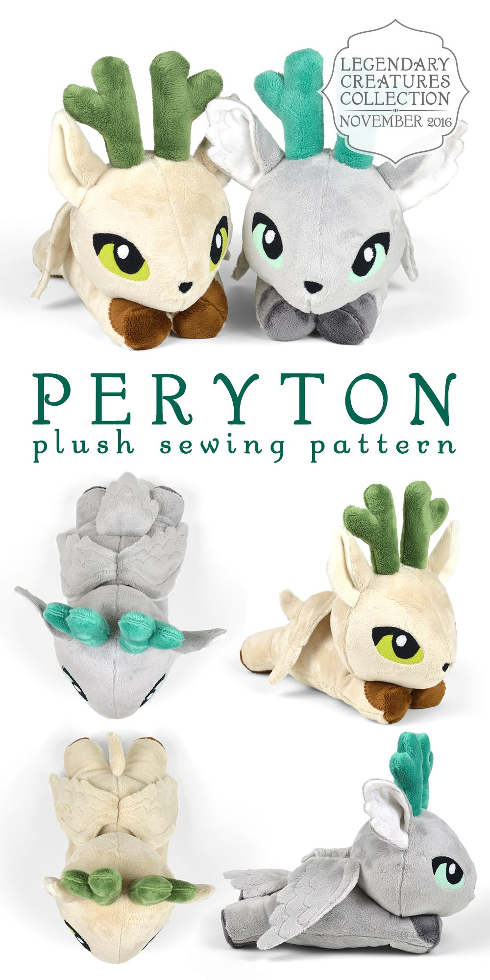 Peryton plush sewing pattern mythical winged deer soft toy stuffed ...