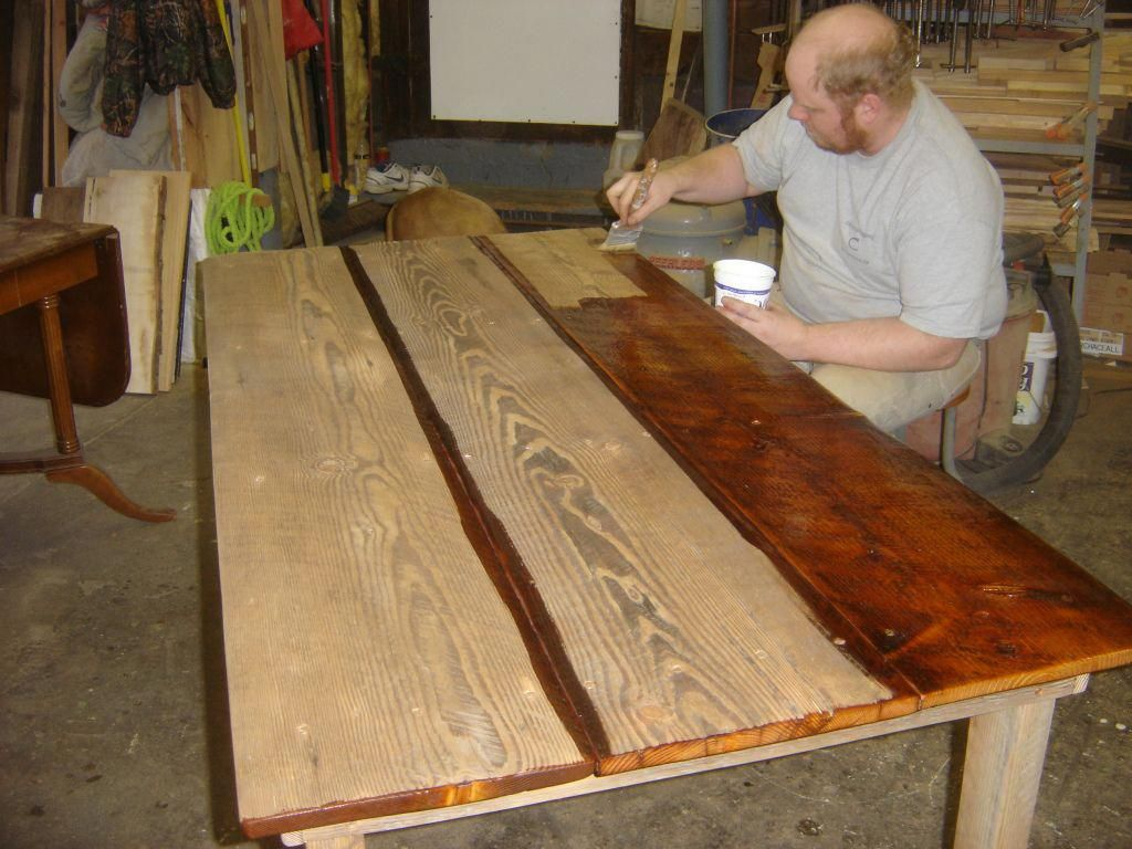 My Son Nick Varnishing A Table Top Deckbuildingtips Wooden Table Top Wood Table Top Vintage Dining Room Table