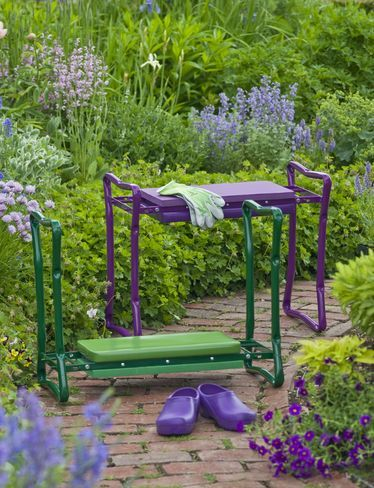Gift idea - love purple! Deep-Seat Garden Kneeler flips to become a padded bench - buy at gardeners.com