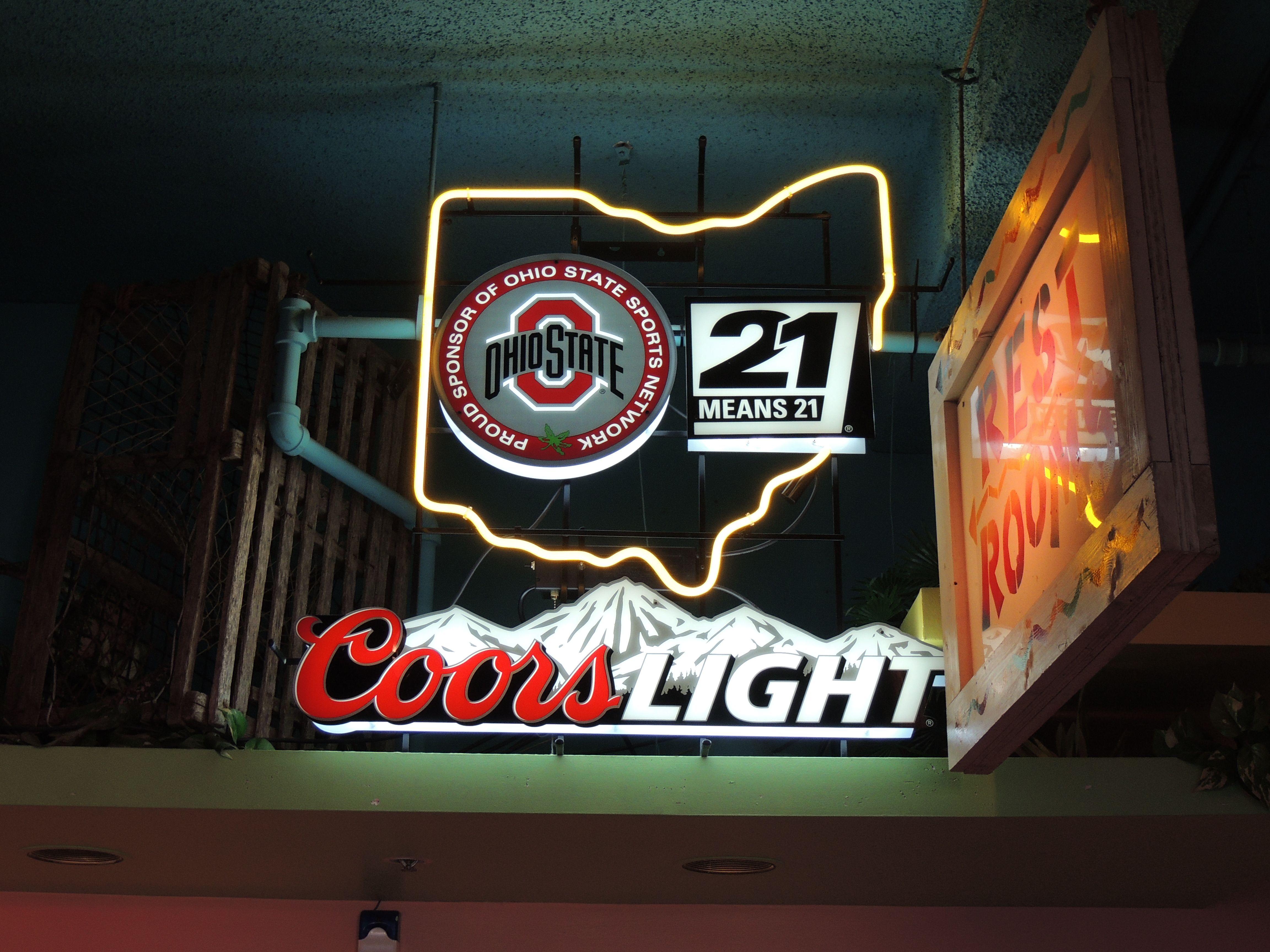 Neon beer sign nfl football nfl helmets coors light neon neon beer sign coors light ohio state university osu aloadofball Choice Image