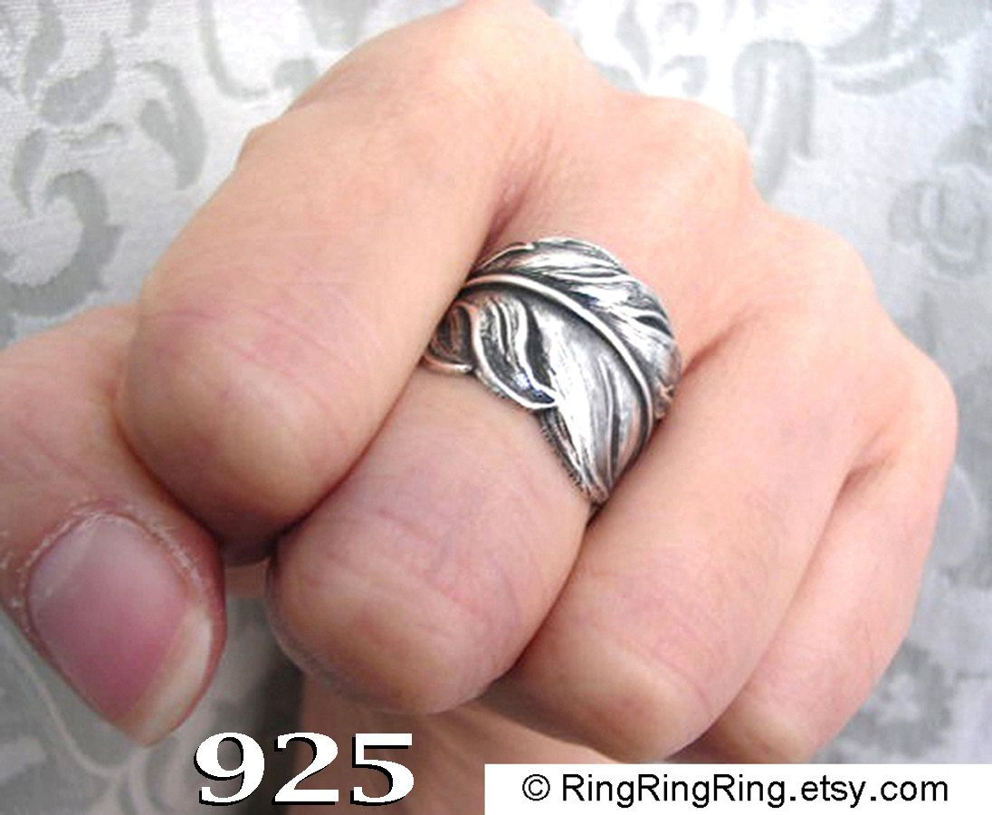 925. Angel Feather ring jewelry for men and women - Antiqued Solid ...
