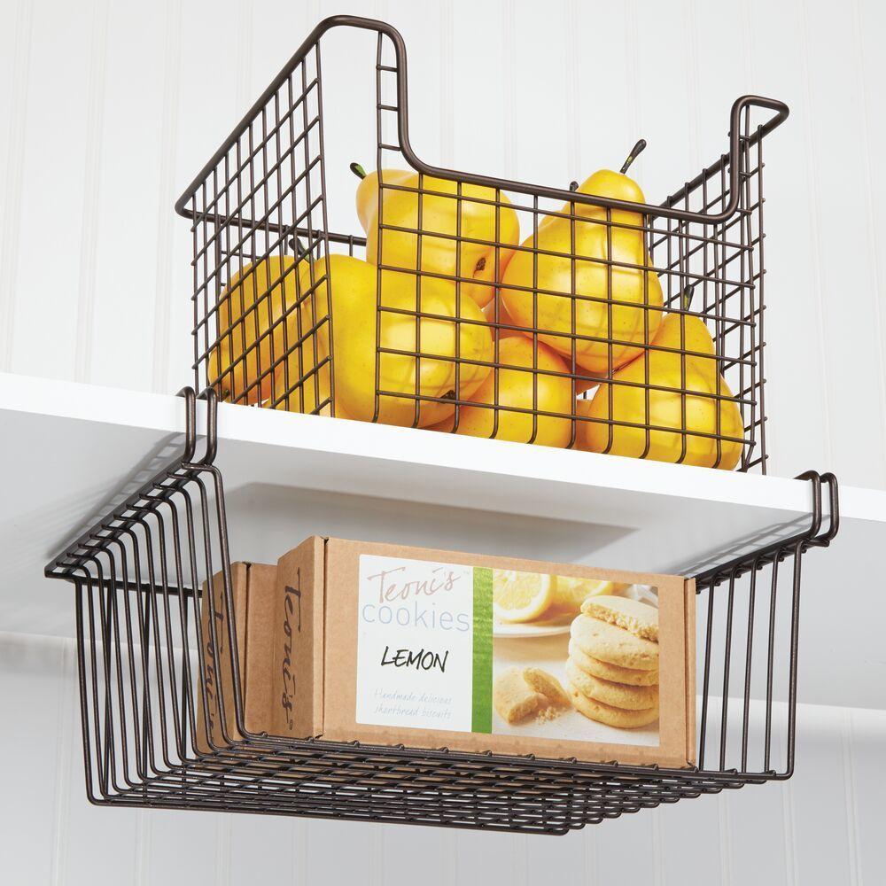 Metal Hanging Kitchen Pantry Shelf Storage Basket 10 25 X 13 X 6 Shelf Baskets Storage Storage Shelves Pantry Shelf