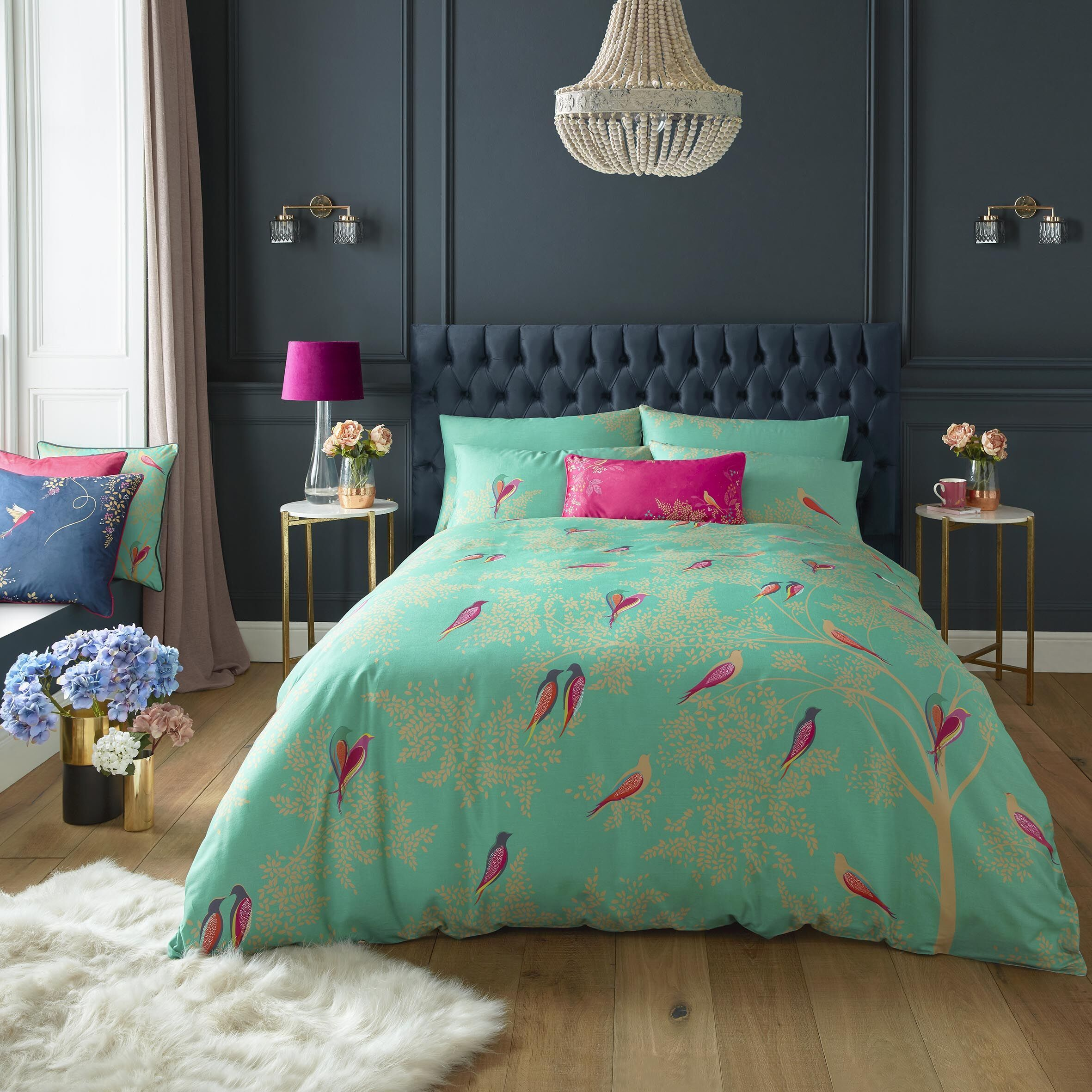 Green Birds Luxury Cotton Bed Linen Set By Sara Miller In 2020