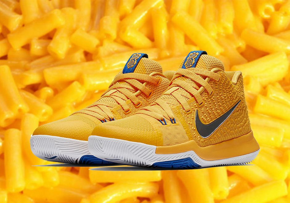 new concept 028e2 6347e The Nike Kyrie 3 Mac and Cheese (Style Code  859466-791) will release on  July 14th in a kids exclusive size run featuring a colorway inspired by  Kraft Mac