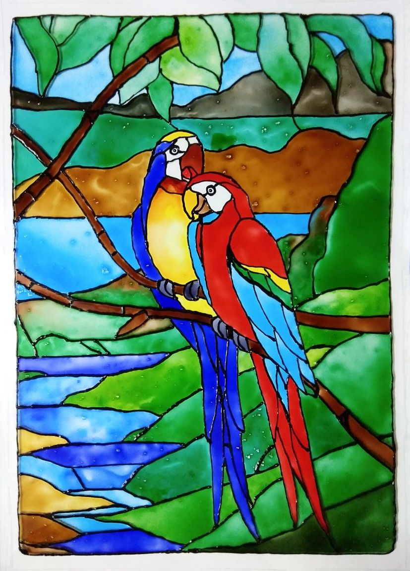 Love bird glass painting — 1
