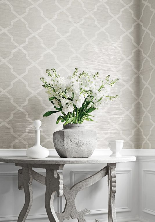 Carolyn Trellis Wallpaper A Smart Wide Width Horizontal Paperweave With A  Trellis Design Printed In White And Pale Grey On A Natural Beige Ground, ...
