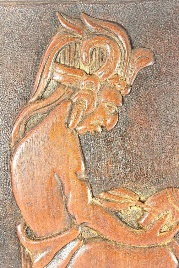 Mayan Wood Carving, Maya Aztec Relief Carving, Vintage Relief Aztec ...