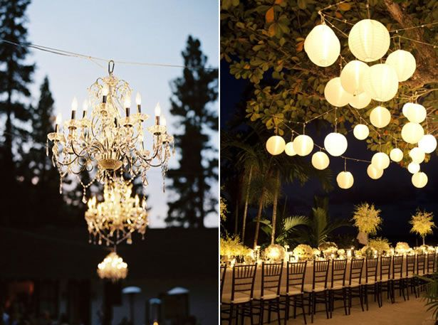 outside wedding lighting ideas. chandeliers drape white lights or hang paper lanterns to add lighting your outdoor reception outside wedding ideas i