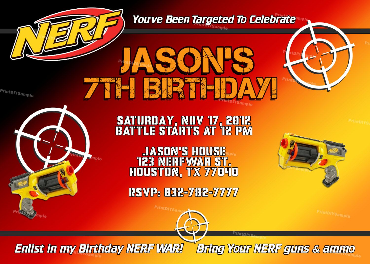 Nerf War Party Invitations as Cool Template To Create Awesome Invitations Ideas