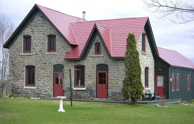 Color Combo Red Roof Grey Walls Red Roof House Metal Roof Houses Cottage Exterior