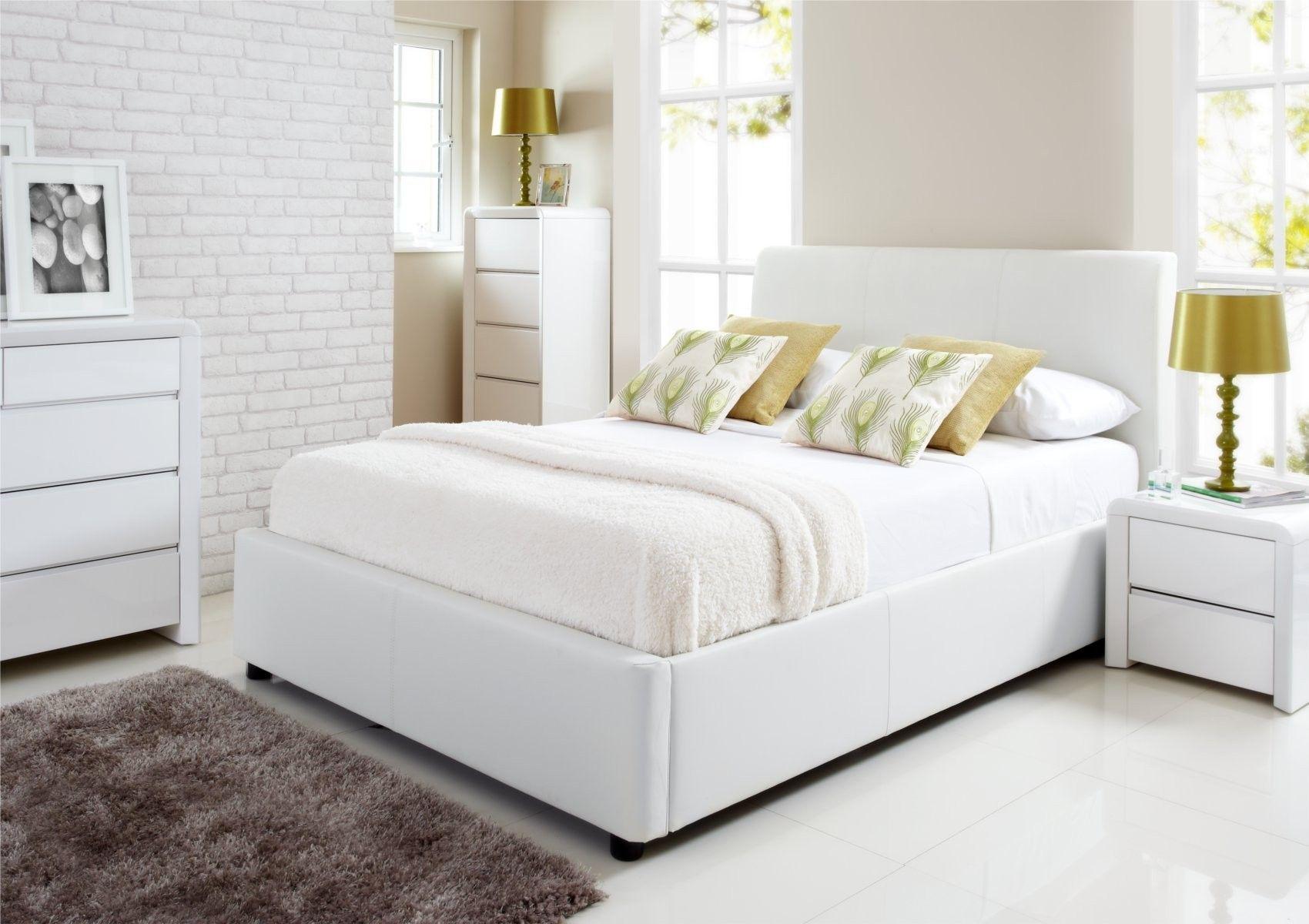Henley White Leather Ottoman Storage Bed Ottoman Storage