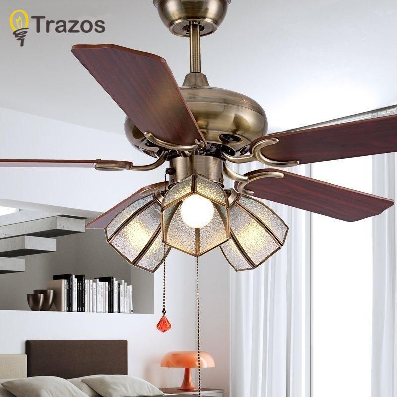 TRAZOS 42 Inch European Modern Retro Ceiling Fans With grass
