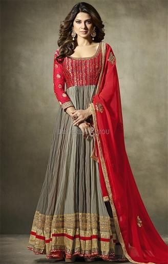 Actress Jennifer Winget Attired Cute Ash Grey-Red Designer Dress ...