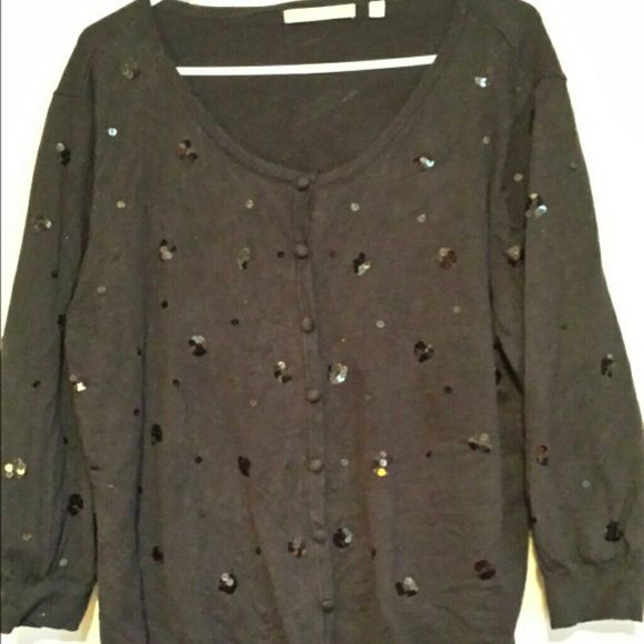 NY collection size 2X sequins sweater Nice black cardigan. Buttons down. Black sequins on the front. NY Collection Sweaters Cardigans