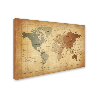 Time zones map of the world by michael tompsett ready to hang time zones map of the world by michael tompsett ready to hang canvas wall publicscrutiny Choice Image