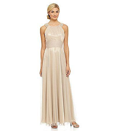 Cachet Metallic Tulle Gown #Dillards | wedding ideas | Pinterest