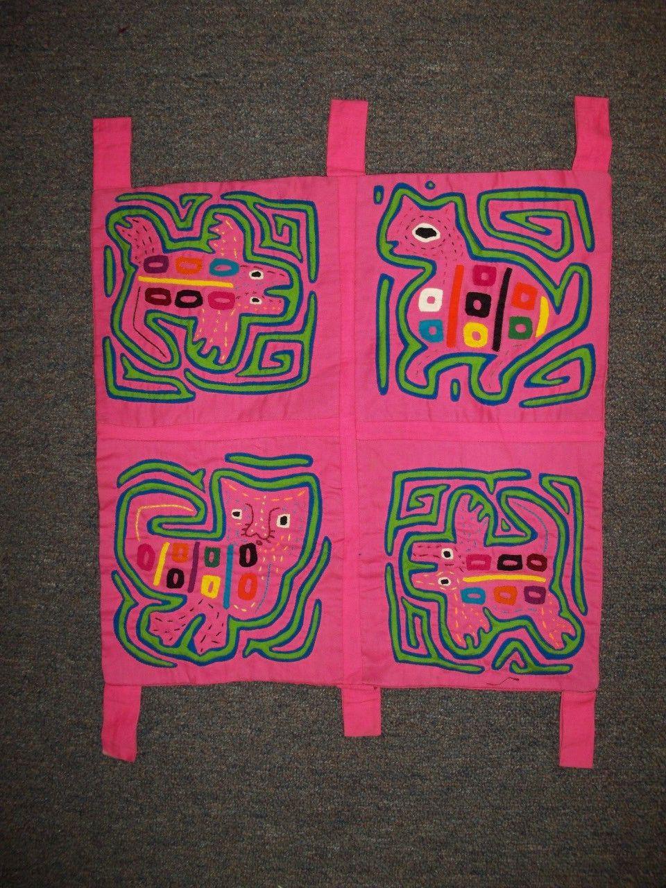 Kuna Tribe Mola Pink Panther Lizard Tapestry Panama San Blas-12.60156