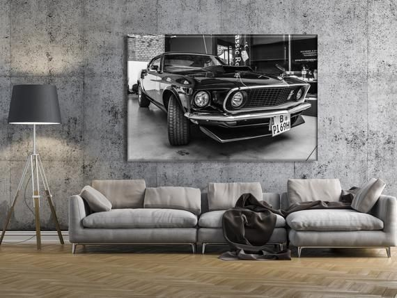 Retro Car Canvas, Muscle car Wall Art, Ford Mustang Boss 429 Fastback (1969), Ol...   - Products -