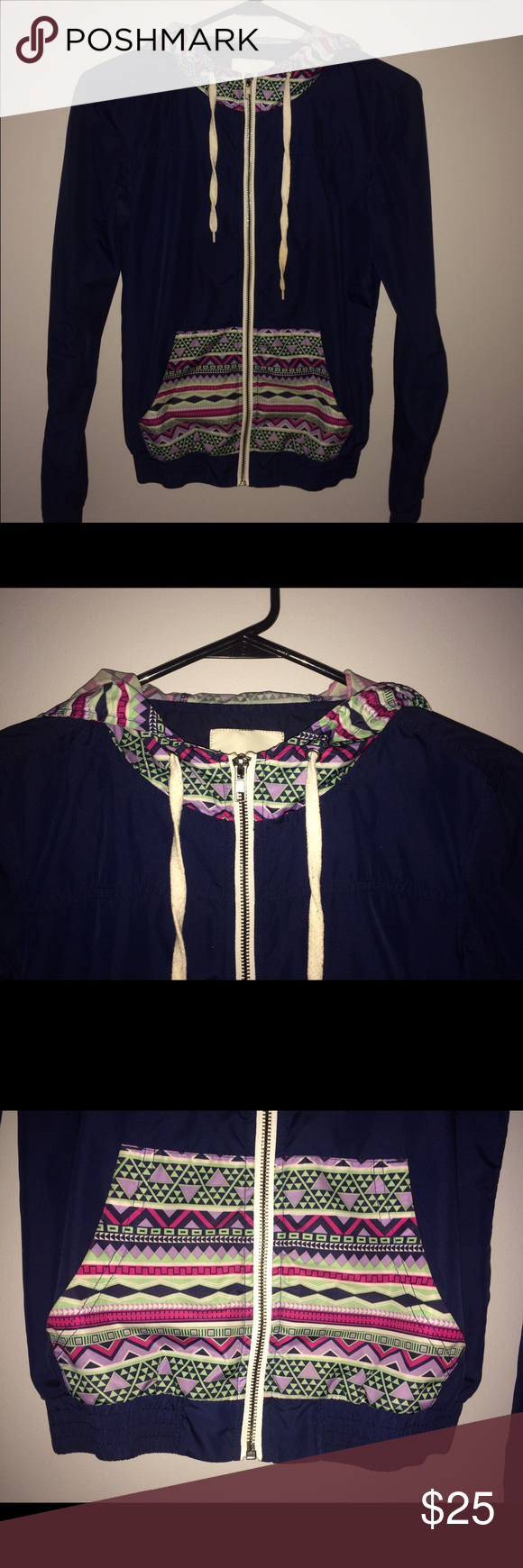 Tribal Zumiez Windbreaker This is a brand new tribal windbreaker from Zumiez :) it is navy blue with the tribal design on the pockets and on the hoodie! Match it with a comfortable sweater, it's a very cute windbreaker! :) Zumiez Jackets & Coats