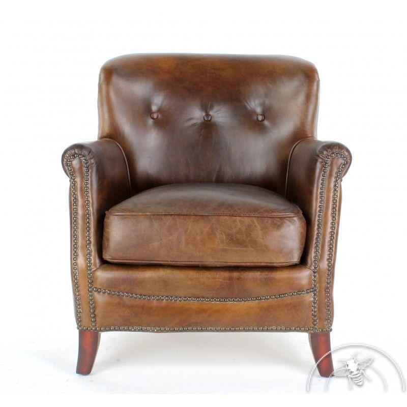 Fauteuil club cuir marron vintage Middletown