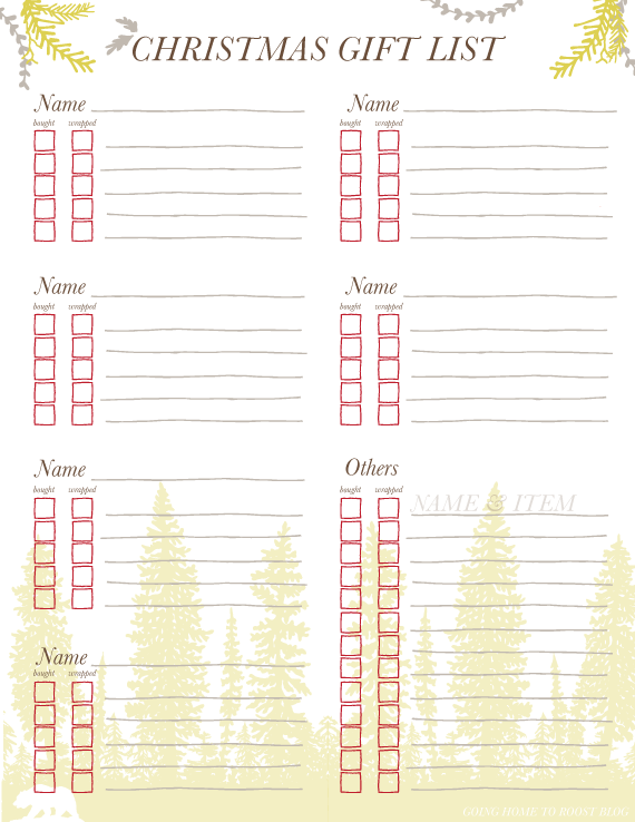 free printable christmas gift list holiday parties gifts ideas