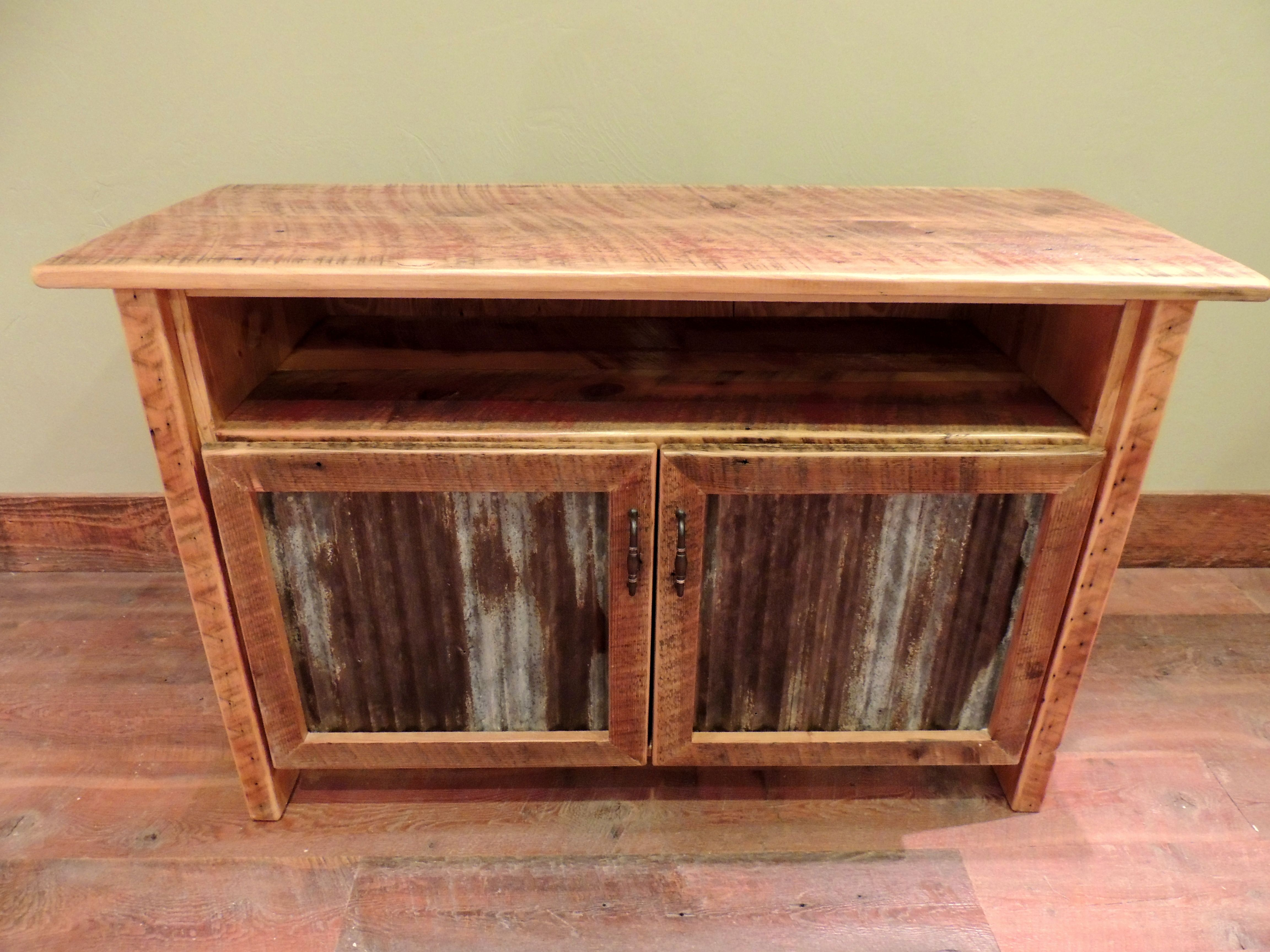 arizona style barnwood cabinet tv stand with corrugated metal in doors