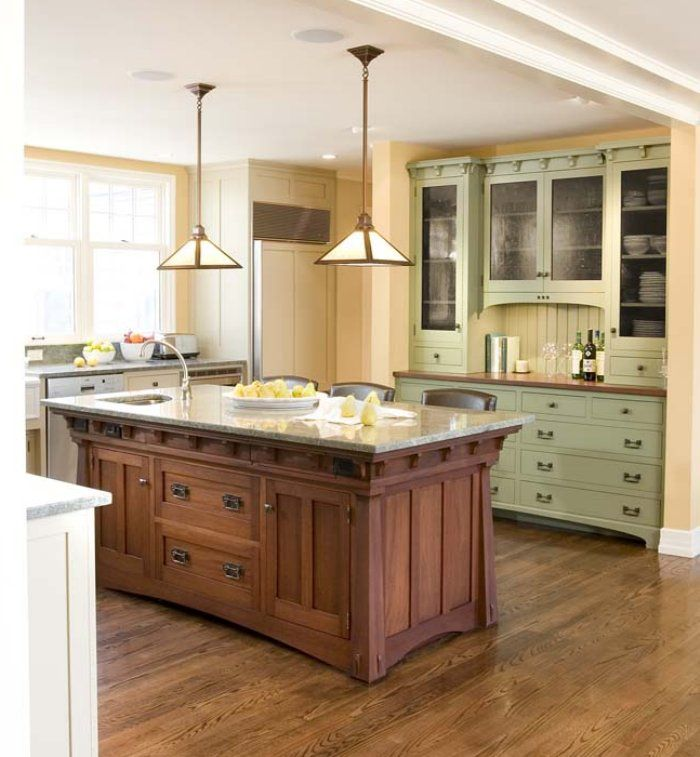 mission kitchen cabinets-- green in back! | Craftsman style ...