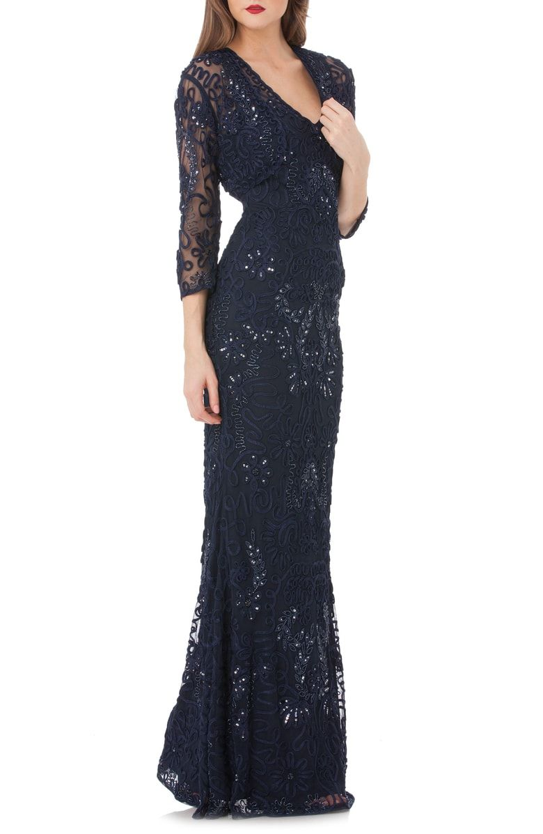 84ee9328a2 Gorgeous soutache ribbons and shimmering beads and sequins detail the airy mesh  overlay atop this slim and statuesque mermaid gown.