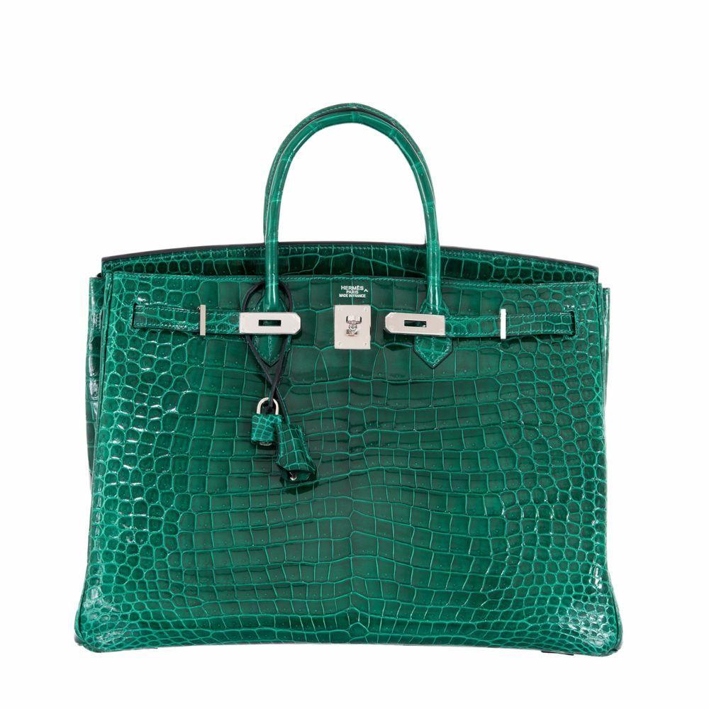 b5dfcd0b8227 Hermes Birkin 40 Vert Emerald Porosus Crocodile Palladium Hardware  HERMS   40cm