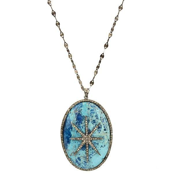 Shattuckite Diamond Star Pave' Necklace
