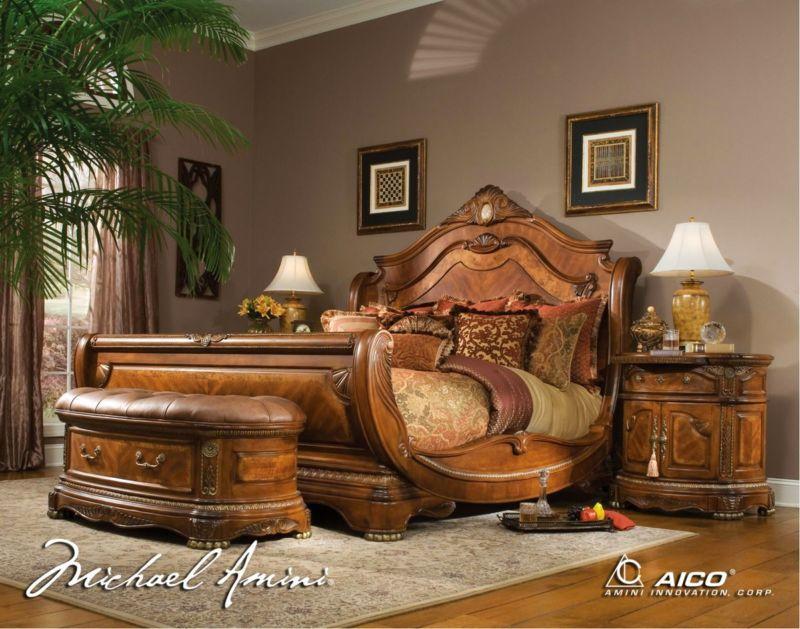 Best Michael Amini Cortina Honey Walnut Luxury King Sleigh Bed 400 x 300