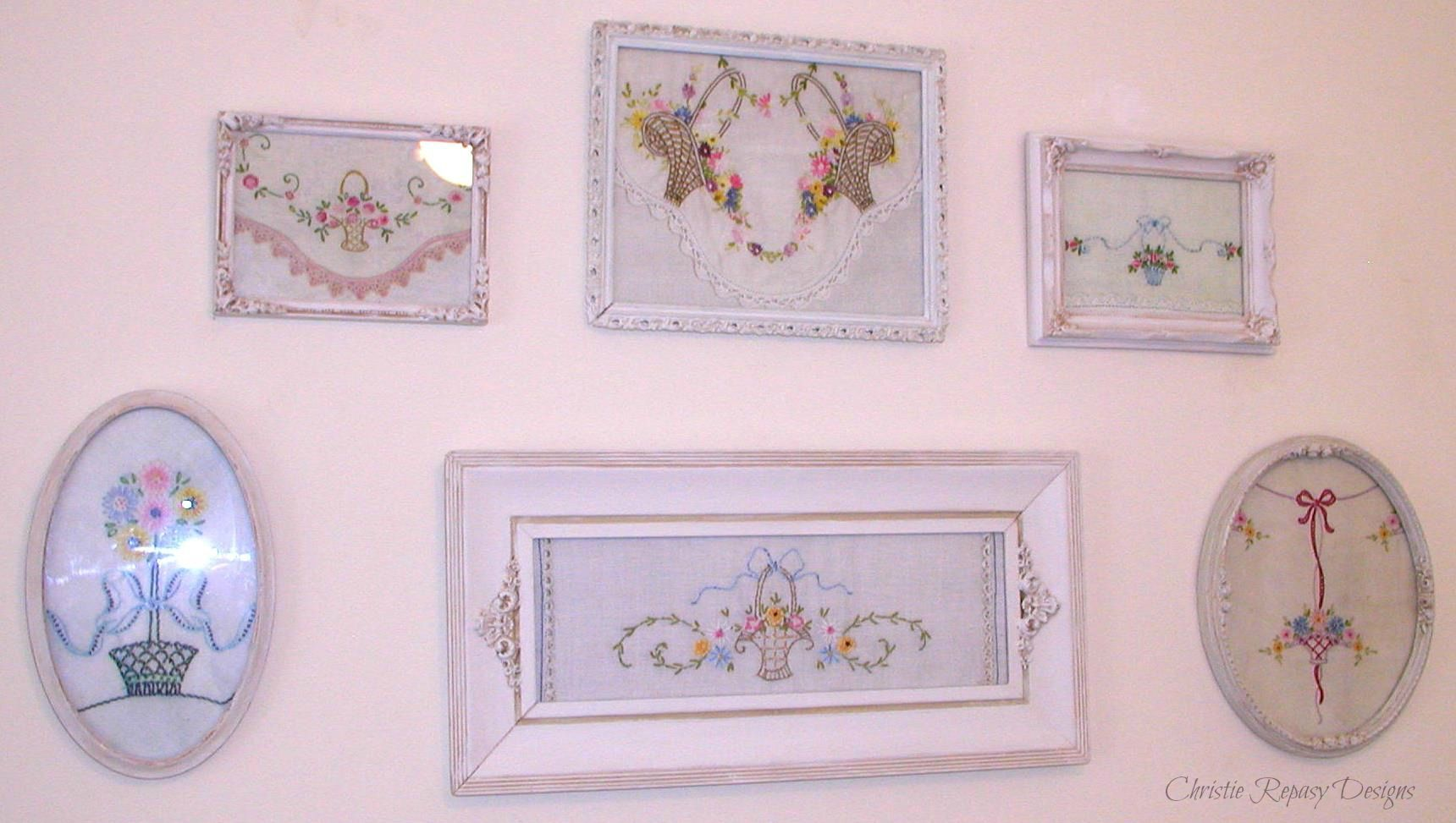 Framing favorite vintage linens as wall art. | Clever Ideas ...
