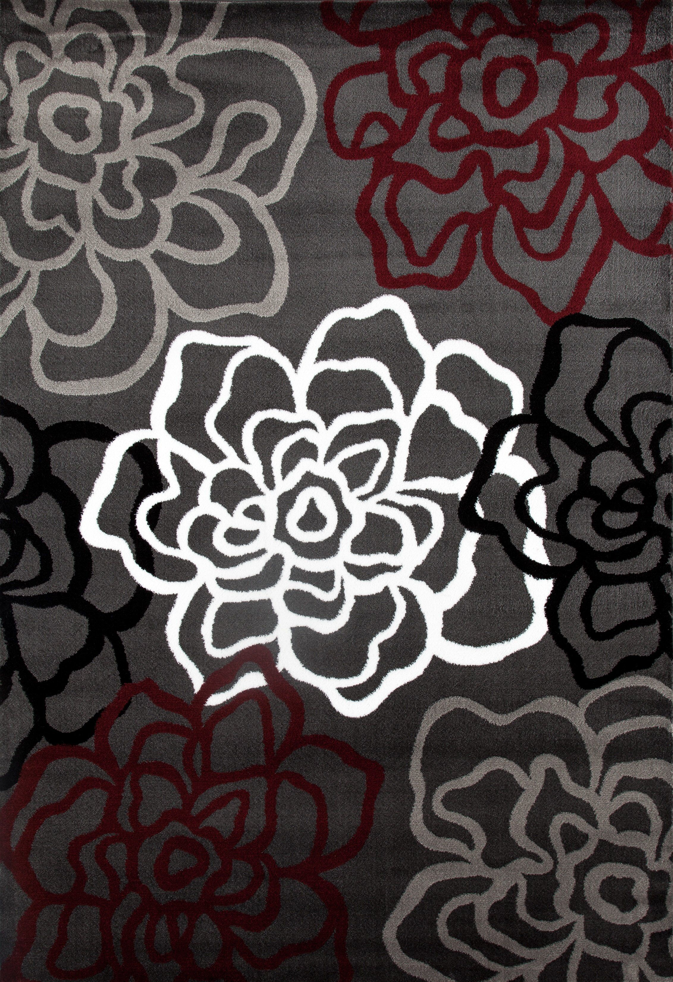 Elliott Bay Red Gray Area Rug Floral Rug Area Rugs