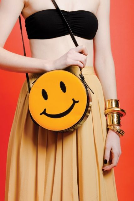 Vintage MOSCHINO Patent Leather SMILEY FACE BAG..90's ICON!