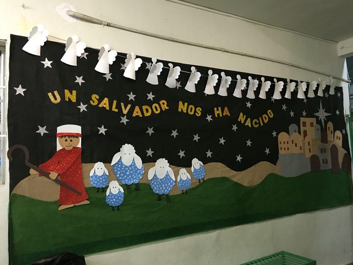 Mural navide o fondo de pell n ecol gico pastor ovejas - Murales decorativos de navidad ...