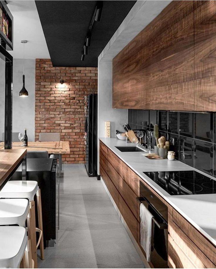 Moderne / Retro Küchen-Innenarchitektur-Idee #interiordesignkitchen