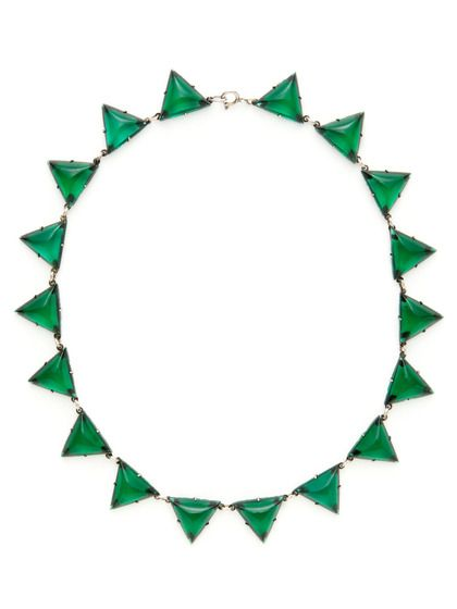 Czech Green Glass Triangle Station Necklace by House of Lavande