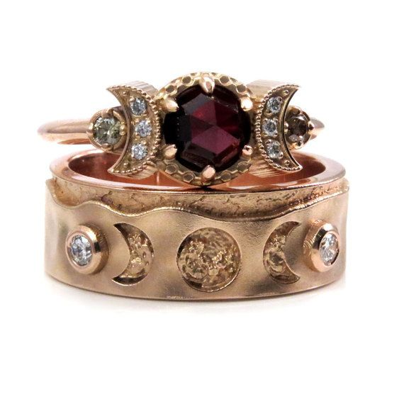 His And Hers Moon Phase Wedding Ring Set 14k Rose Gold Garnets
