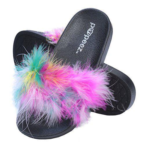 sale retailer best sneakers super specials Pupeez Girls Open Toe Flip Flop Slide Slippers with Soft Faux Fur ...