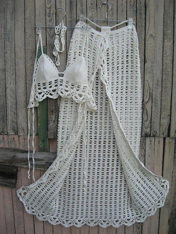 crochet Sarong Crochet Pareo Beach Cover Beach Skirt Crochet wedding ...