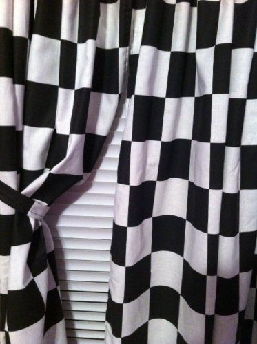 2 Window Curtain Panels Made From Cotton Nascar Race Or Retro Diner Black And White Checkered Flag Fabric Each Panel Is 42 W Retro Diner Curtains Fabric Flags
