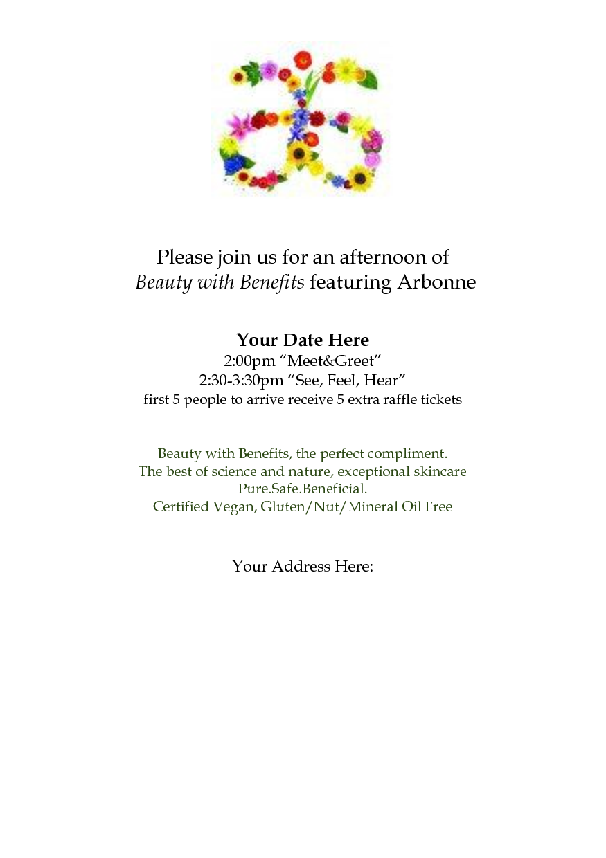 arbonne party invitation templates arbonne  arbonne party invitation templates